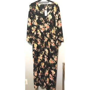 Forever 21+ Sheer black floral maxi dress/cover-up